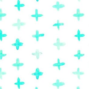 Aqua blue watercolor crosses