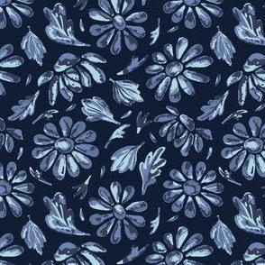 Title Indigo Blue Flower Daisy Hand Drawn