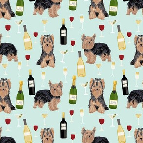 yorkshire terrier wine fabric, yorkie fabric, yorkie dog fabric, wine fabric, dogs fabric, dog breeds fabric -  light mint