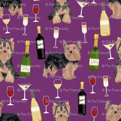 yorkshire terrier wine fabric, yorkie fabric, yorkie dog fabric, wine fabric, dogs fabric, dog breeds fabric - purple