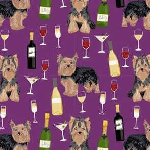 yorkshire terrier wine fabric, yorkie fabric, yorkie dog fabric, wine fabric, dogs fabric, dog breeds fabric - purple
