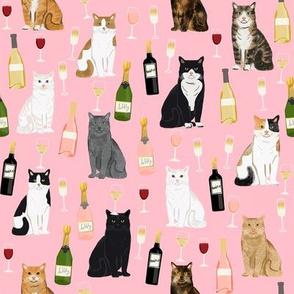 cat wine fabric - cat fabric, cats fabric, cat lady fabric, wine fabric, wine and champagne fabric - pink