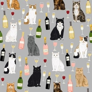 cat wine fabric - cat fabric, cats fabric, cat lady fabric, wine fabric, wine and champagne fabric - grey
