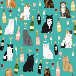cat wine fabric - cat fabric, cats fabric, cat lady fabric, wine fabric, wine and champagne fabric - teal