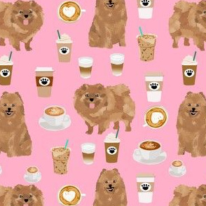 pomeranian dog fabric -  pom dog fabric, coffee fabric, coffees fabric, latte fabric, cute coffee drinker fabric, coffee lover fabric, dogs and coffee - pink