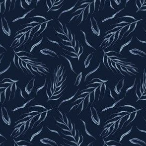 Falling Leaves Indigo Faded Denim Blue Batik