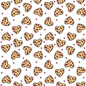 SMALL - pizza heart fabric - valentines day, valentines fabric, pizza fabric, food fabric, food lover fabric - cute fabric - white