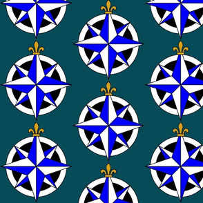 Compass Rose on Blue