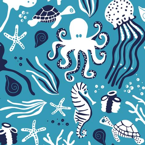 Under the Sea Aqua fabric by jannasalak on Spoonflower - custom fabric