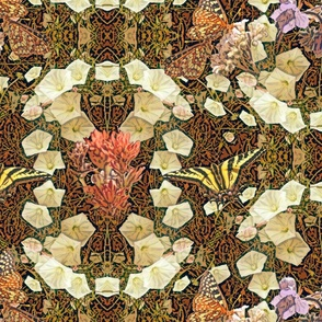 Morning Glory, Butterflies & Wildflowers, Art Nouveau Pattern