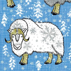 Wintery Grey-White Musk-Oxen on Pantone boy-blue