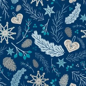 Vintage Folk Winter Woodland Holiday Toss in Indigo, Turquoise, & Ice Blue  // Pine Boughs, Straw Ornaments, Berries, Pine Cones, Lace, Gingerbread, Branches // Olde World Farmhouse Christmas