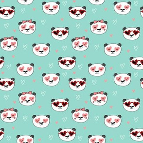 SMALL - panda valentines // love panda head hearts animal valentine's day fabric mint