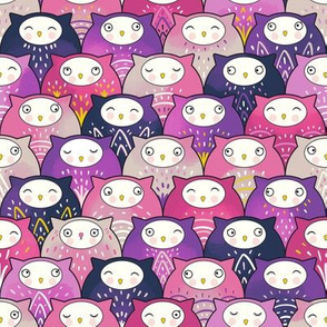 Find a cat in a parliament of owls (pink)