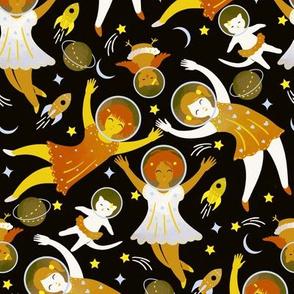 Girls in space - golden