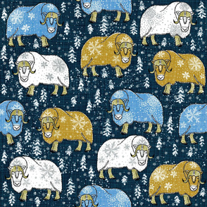 Wintery Mustard-Blue Musk-Oxen on navy linen