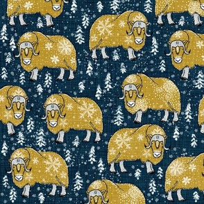 Wintery Mustardy Musk-Oxen on navy blue