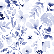 Washed out indigo floral print - Indigo and white blue and white floral Indigo flowers