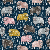 Wintery Mixed Musk-Oxen on navy blue
