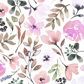 Watercolour floral print - Pinks + Greens - Baby bedding girls nursery homewares