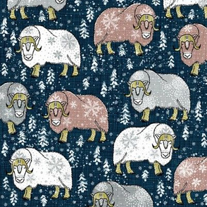 Wintery Latte-grey Musk-Oxen on navy linen
