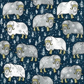 Wintery Grey-White Musk-Oxen on Pantone navy linen