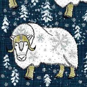 Wintery White Musk-Oxen on Pantone navy linen