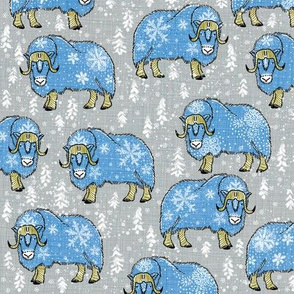 Wintery Blue Musk-Oxen on silver grey