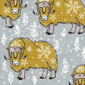 Wintery Mustardy Musk-Oxen on silver grey