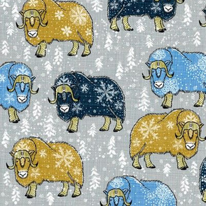 Wintery Mixed Musk-Oxen on silver grey V2