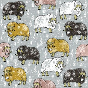 Wintery Mixed Musk-Oxen on silver grey V4