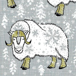 Wintery White Musk-Oxen on silver grey