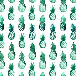 Emerald watercolor pineapples