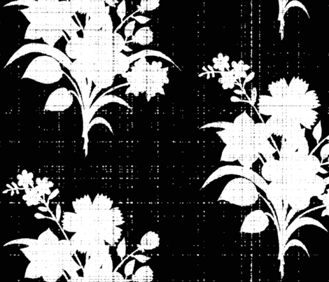 Black and white silhouette bouquet smaller fabric by lucybaribeau on Spoonflower - custom fabric