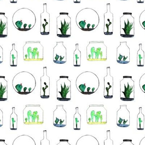 Bottled cacti || watercolor cactus pattern
