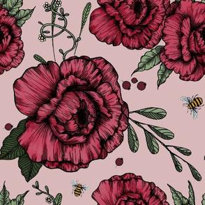 Peonies & Bees - rosé-beige
