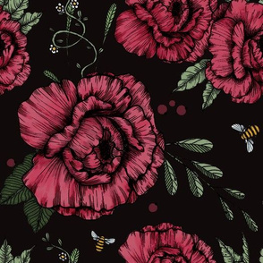 Peonies and Bees on black