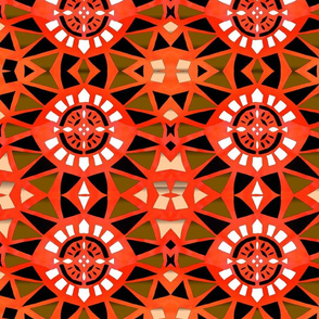 Abstract Shield in Orange and white