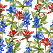 large watercolor bluebonnets with red flowers