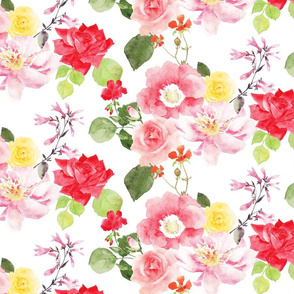 blush pink, red, and yellow roses in watercolor