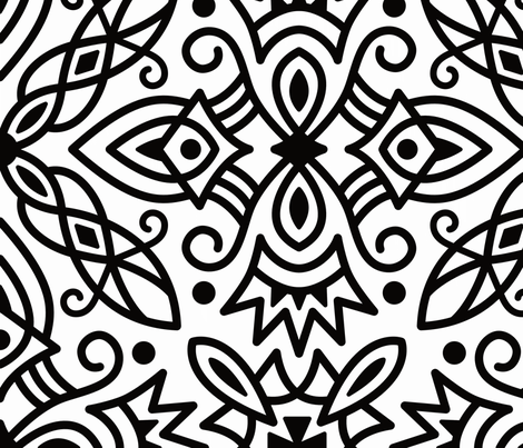 Big Bold Black and White Medallions 20181117LB fabric by inklaura on Spoonflower - custom fabric