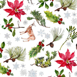 Christmas woodland watercolor with red poinsettia and deer