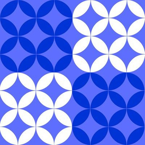 Diamond Circles in Blue and White