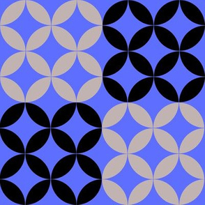 Diamond Circles in Blue Black and Gray
