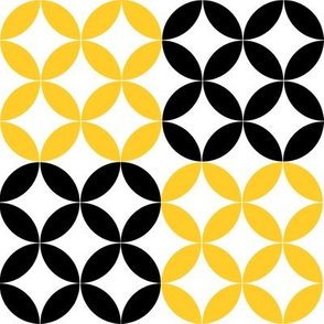 Diamond Circles in Black White and Yellow