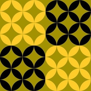 Diamond Circles in Black Green and Yellow