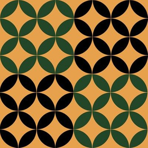 Diamond Circles in Black Green and Beige