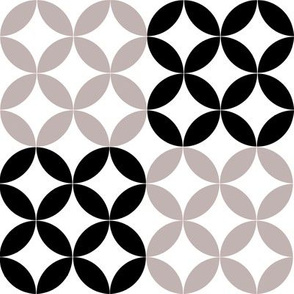 Diamond Circles in Black White and Gray