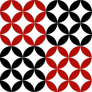 Diamond Circles in Black White and Red