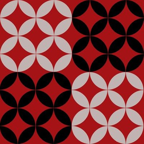 Diamond Circles in Black Red and Gray